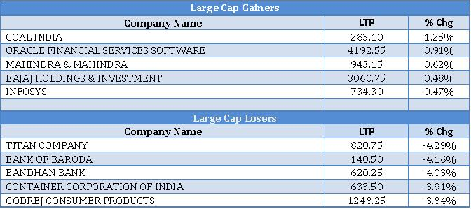 Large Cap Gainers and Losers as on 11th Sep